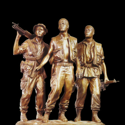 "Frederick Hart's ""Three Servicemen"" bronze maquette/sketch for full scale bronze at Vietnam Veterans Memorial, Washington DC"