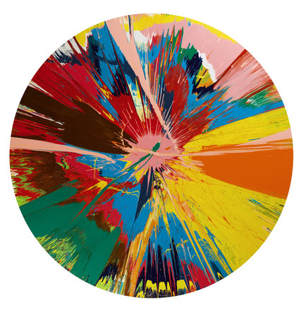 Damien Hirst, Beautiful, shattering, slashing, violent, pinky, hacking, sphincter painting