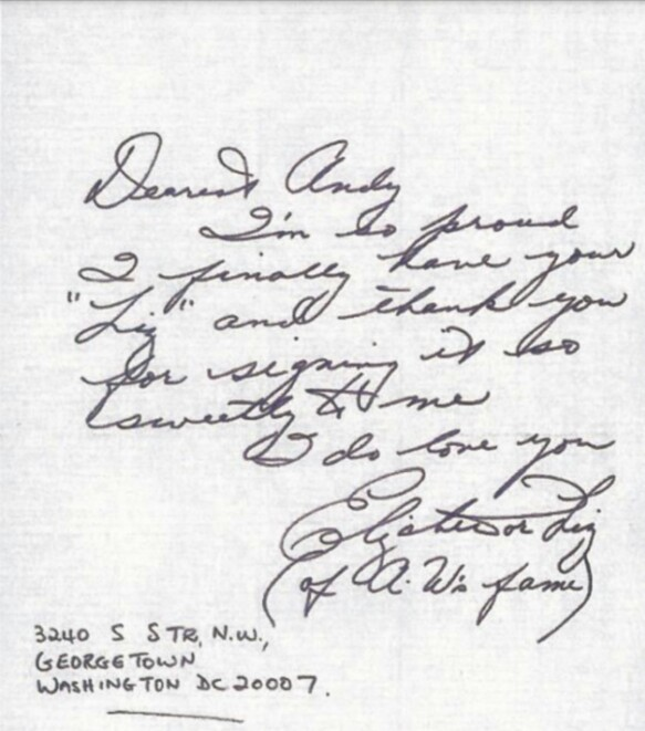 Letter from Elizabeth Taylor to Andy Warhol 1977