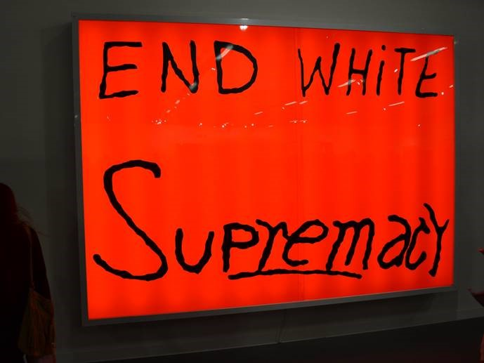 """End White Supremacy"" by Sam Durant at Blum & Poe's booth during Art Basel in Miami Beach"