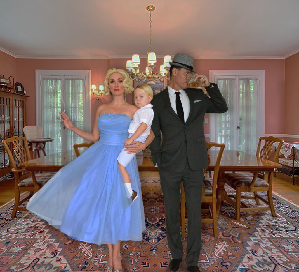AMC Mad Men Costume Idea- Don (Jon Hamm) and Betty Draper (January Jones) in 1960's home with Baby
