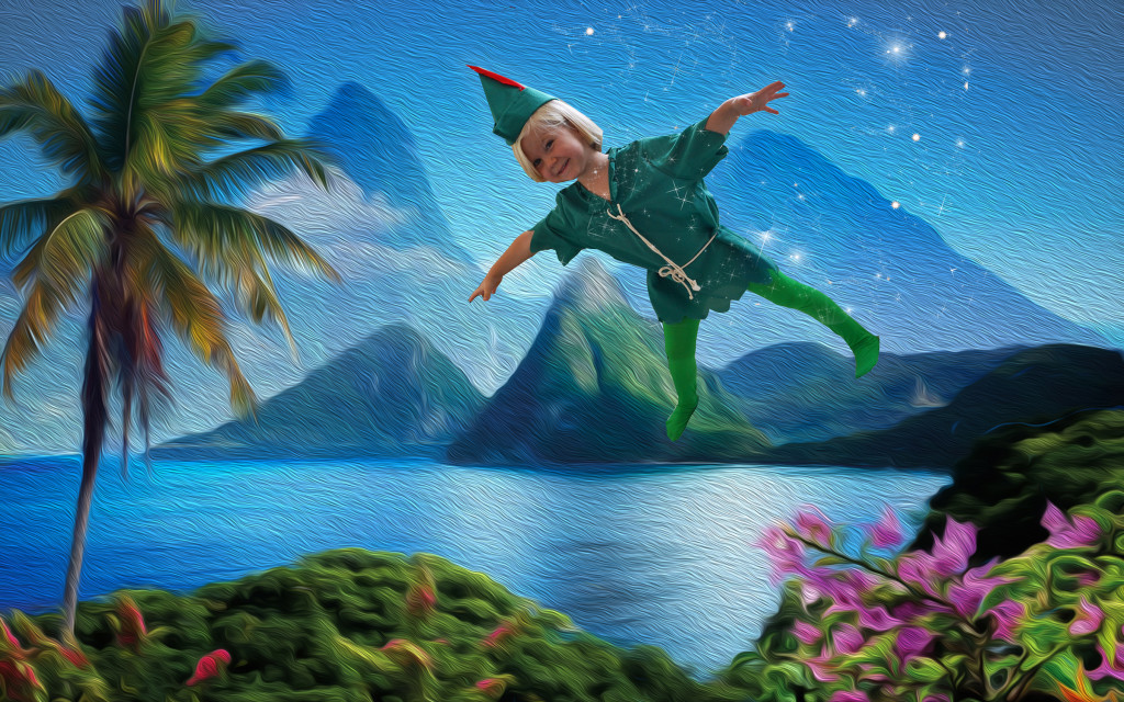 Peter Pan Costume Ideas- Peter Pan flies over Neverland