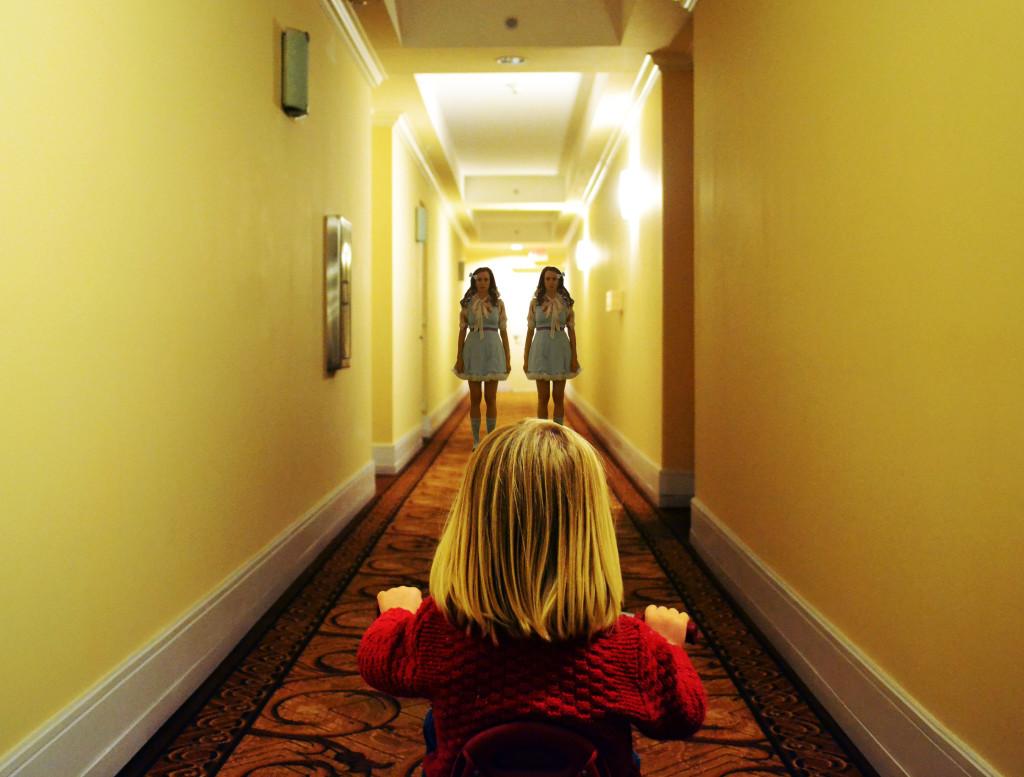 The Shining Costume Ideas- Danny Torrance Big Wheel in Hallway with Grady Twins