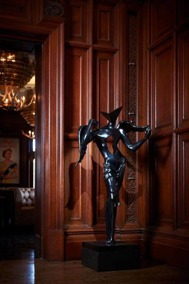 "Salvador Dali's ""Surrealist Angel"" monumental bronze in Casa Loma's BlueBlood Steakhouse"