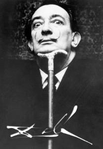 Salvador Dali photo with cane